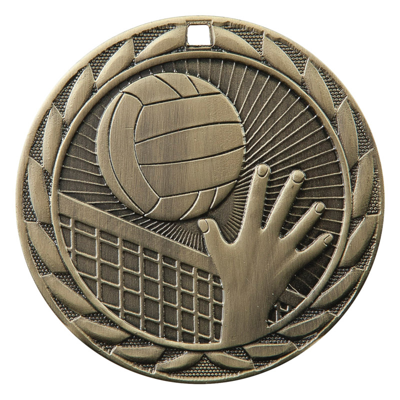 LOW COST VOLLEYBALL MEDALS GOLD SILVER BRONZE W// NECK RIBBON STARBLAST DESIGN